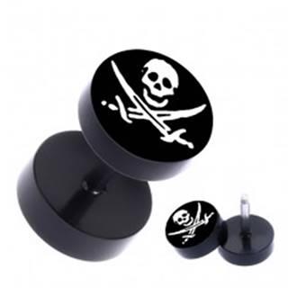 Falošný oceľový piercing do ucha - pirátsky motív, čierny