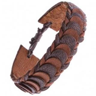 Hnedý kožený náramok z prekladaných lupienkových pásov