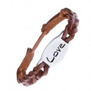Náramok na ruku z kože - karamelovo hnedý so známkou LOVE