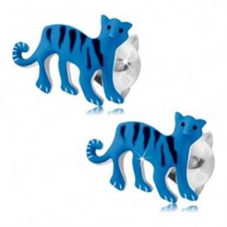 Náušnice zo striebra 925, modrý tiger s čiernymi pásikmi, puzetky