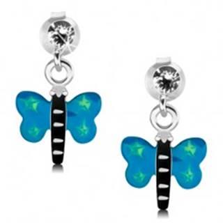 Náušnice zo striebra 925, motýľ s modrými krídlami a zelenými hviezdičkami
