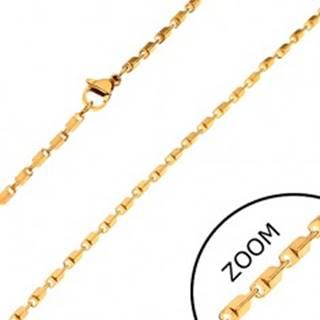 Oceľová retiazka zlatej farby - lesklé skosené hranaté články, 2 mm