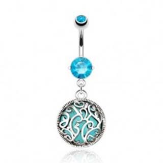 Oceľový piercing do pupka, tyrkysový kamienok zdobený filigránom, zirkóny