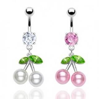 Oceľový piercing do pupku, farebné čerešne, perleťové guličky, zirkóny - Farba piercing: Číra