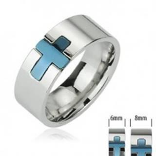 Oceľový prsteň - modrý kríž - Veľkosť: 49 mm