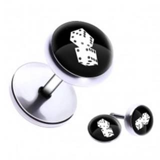 Okrúhly fake plug do ucha z ocele - hracie kocky, glazúra