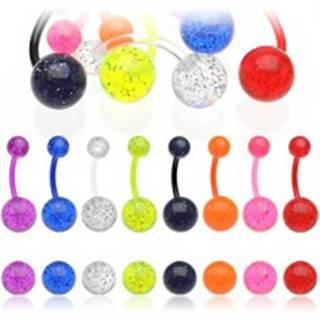 Piercing do pupku - guličky, glitre, rôzne farebné prevedenie - Farba piercing: Červená