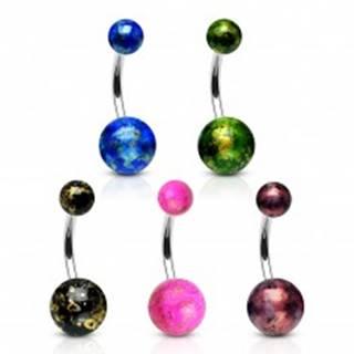 Piercing do pupku z ocele 316L - farebné guličky so odleskami zlatej farby - Farba piercing: Čierna