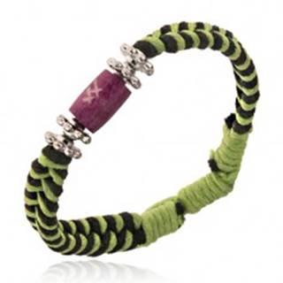 Pletený náramok - zeleno-čierne šnúrky, kvietky a korálka s krížikmi