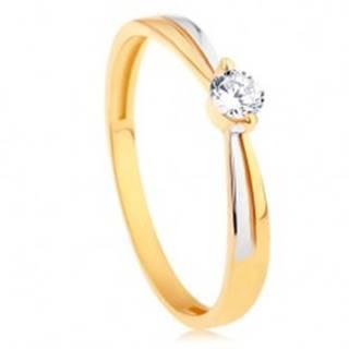 Prsteň v 14K zlate - dvojfarebné ramená, okrúhly žiarivý zirkón čírej farby - Veľkosť: 48 mm