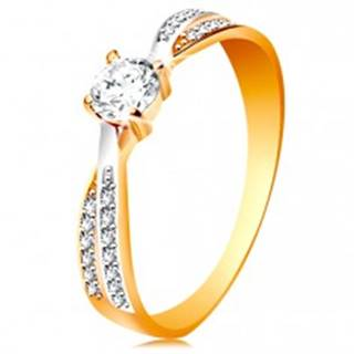 Prsteň v 14K zlate - prepojené dvojfarebné línie ramien, okrúhly zirkón čírej farby - Veľkosť: 49 mm