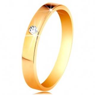 Prsteň v žltom 14K zlate - lesklý hladký povrch, okrúhly číry zirkón - Veľkosť: 48 mm