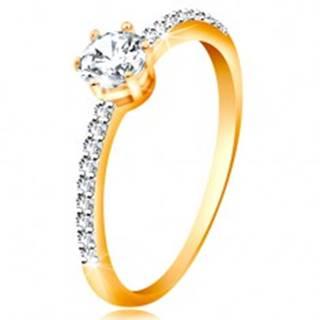 Prsteň v žltom 14K zlate - trblietavý číry zirkón v kotlíku, zirkónové ramená - Veľkosť: 49 mm