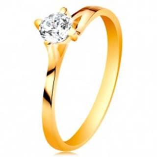 Prsteň v žltom 14K zlate - trblietavý číry zirkón v lesklom vyvýšenom kotlíku - Veľkosť: 49 mm