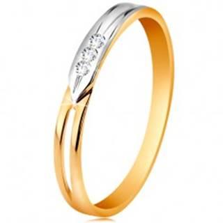 Prsteň zo 14K zlata, dvojfarebné ramená s výrezom a troma čírymi zirkónikmi - Veľkosť: 49 mm
