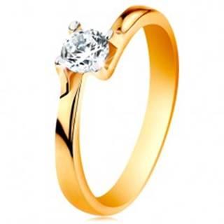 Prsteň zo 14K zlata - zúžené ramená, ligotavý číry zirkón v lesklom kotlíku - Veľkosť: 49 mm