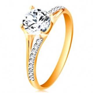 Prsteň zo zlata 585 - rozdvojené ramená, vystúpený okrúhly zirkón čírej farby - Veľkosť: 49 mm