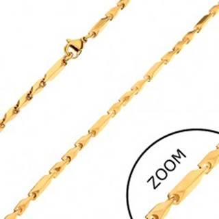 Retiazka z chirurgickej ocele, zlatý odtieň, dlhšie a kratšie hranaté články, 3 mm