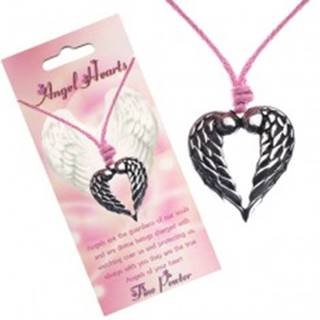 Šnúrkový náhrdelník, prívesok srdca s dotýkajúcimi sa krídlami