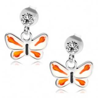 Strieborné 925 náušnice, číry krištálik Swarovski, bielo-oranžový motýlik