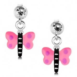 Strieborné 925 náušnice, motýlik s ružovými krídlami a fialovými bodkami