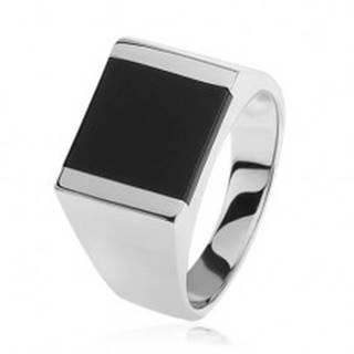 Strieborný prsteň 925, zrkadlovolesklé ramená, štvorec s čiernou glazúrou - Veľkosť: 54 mm