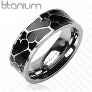 Titánový prsteň - čierna glazúra s ornamentom - Veľkosť: 49 mm