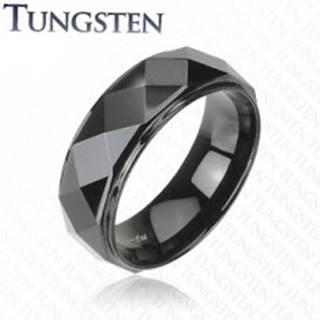 Wolfrámový prsteň - čierny, skosené hrany - Veľkosť: 58 mm
