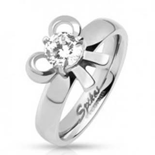 Zásnubný oceľový prsteň s mašličkou a okrúhlym kamienkom  - Veľkosť: 49 mm