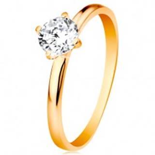 Zásnubný prsteň v žltom 14K zlate - hladké ramená, žiarivý okrúhly zirkón čírej farby - Veľkosť: 49 mm