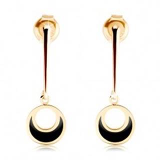 Zlaté náušnice 375 - kruh visiaci na rovnej paličke, výrez, čierna glazúra