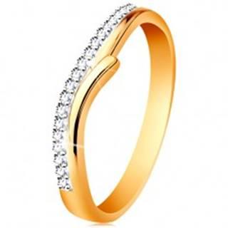 Zlatý 14K prsteň s rozdelenými dvojfarebnými ramenami, číre zirkóny - Veľkosť: 49 mm