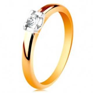 Zlatý prsteň 585 - zaoblené ramená, okrúhly číry zirkón v kotlíku z bieleho zlata - Veľkosť: 49 mm