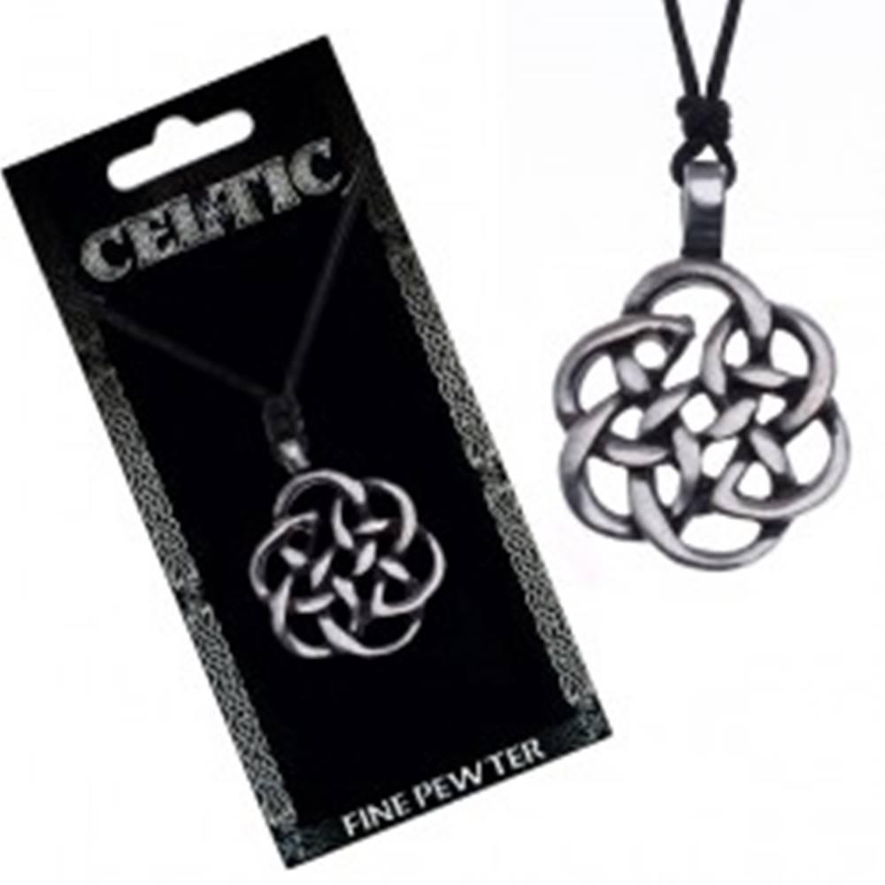 Šperky eshop Čierny náhrdelník - obrys keltského uzla, šnúrka
