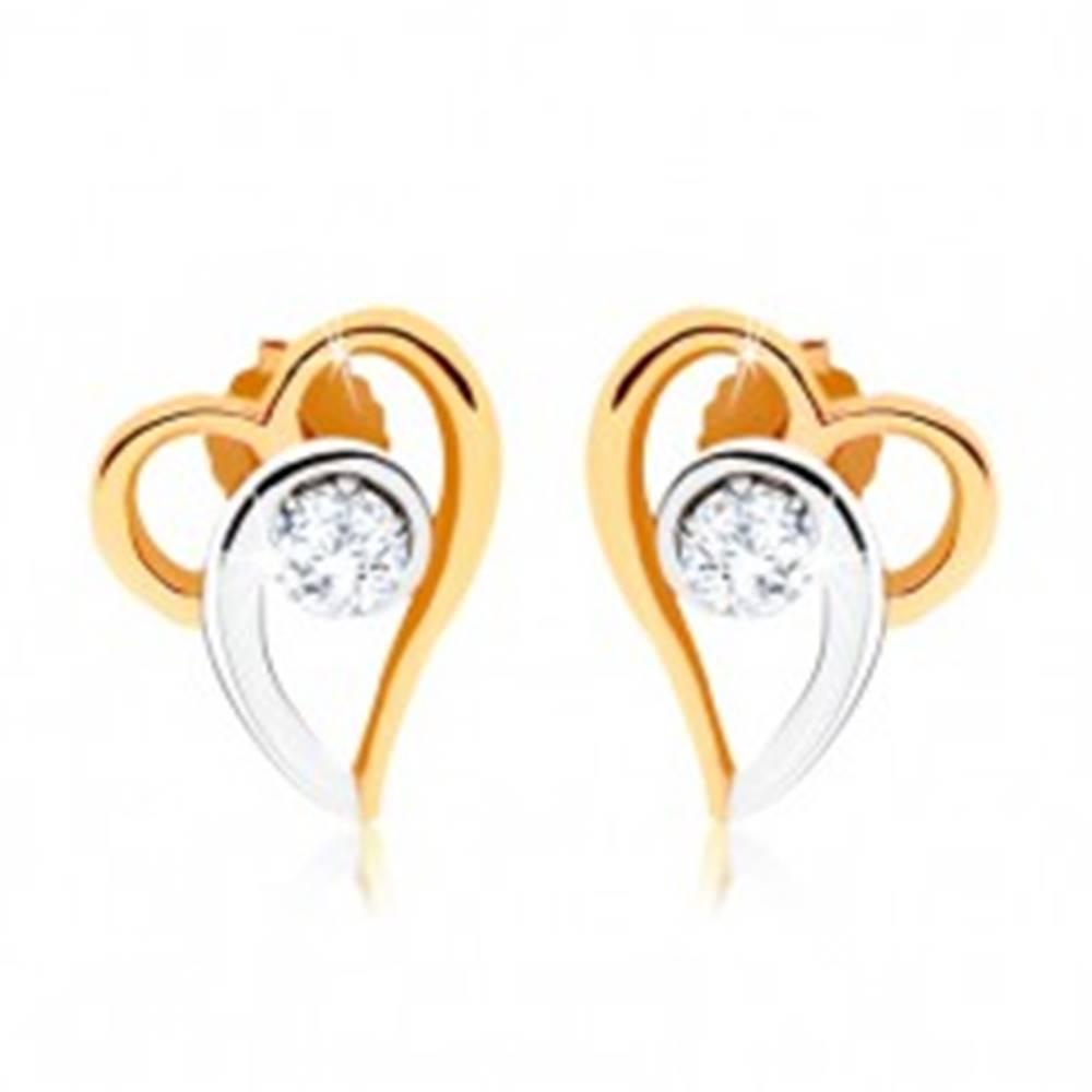 Šperky eshop Dvojfarebné náušnice zo zlata 375, kontúra asymetrického srdca, číry zirkón