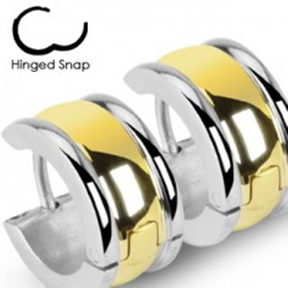 Šperky eshop Dvojfarebné oceľové náušnice s vypuklým pruhom a úzkymi okrajmi