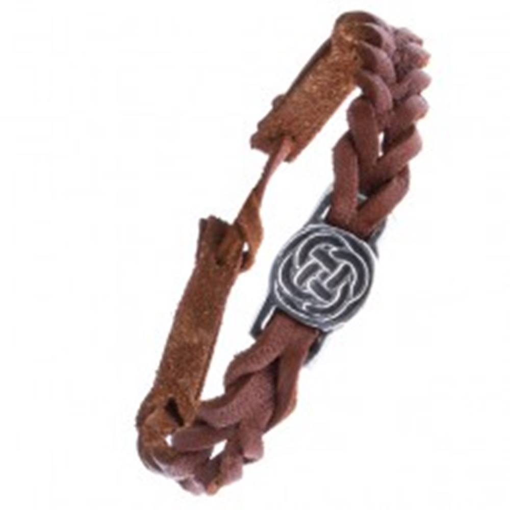 Šperky eshop Kožený karamelovo hnedý náramok - pletenec, keltský uzol v kruhu