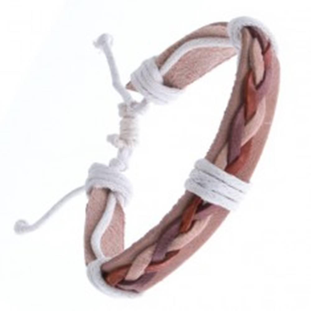 Šperky eshop Kožený náramok – béžový, tri spletené šnúrky