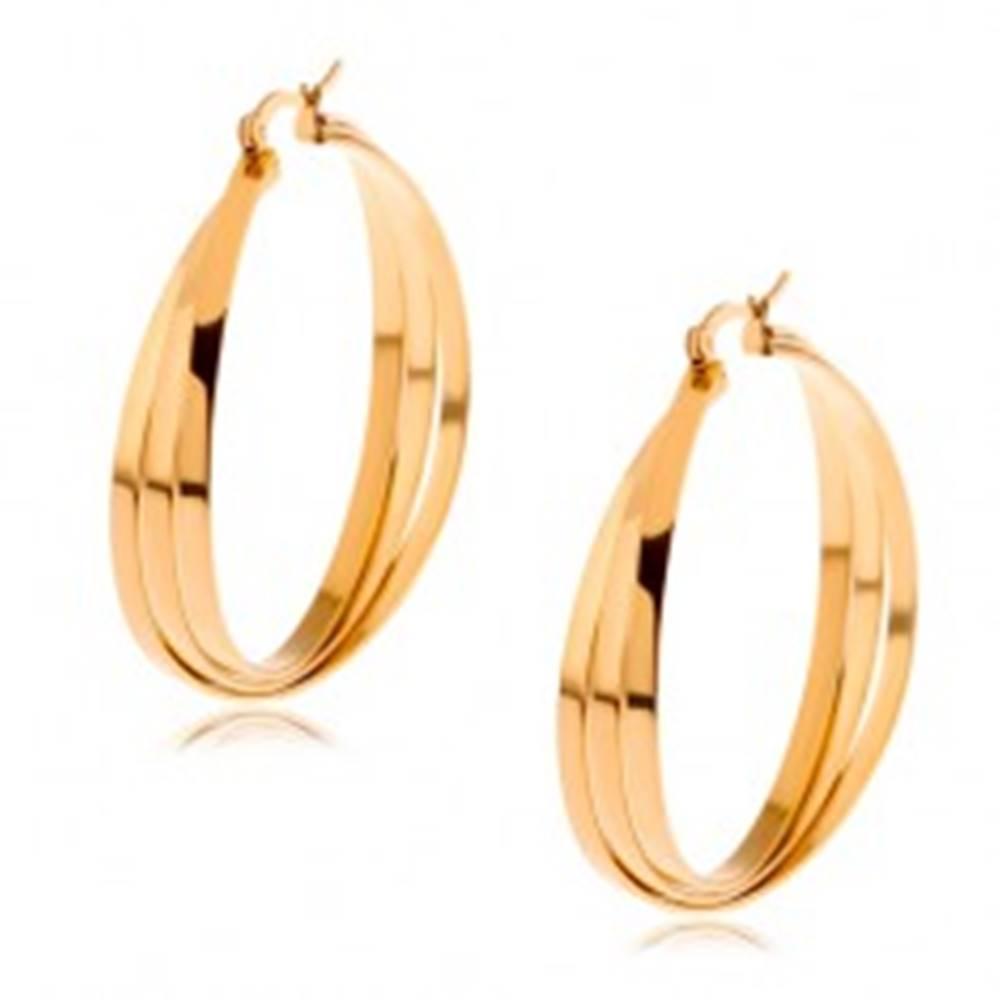Šperky eshop Kruhové náušnice z chirurgickej ocele zlatej farby, tri prekrížené línie