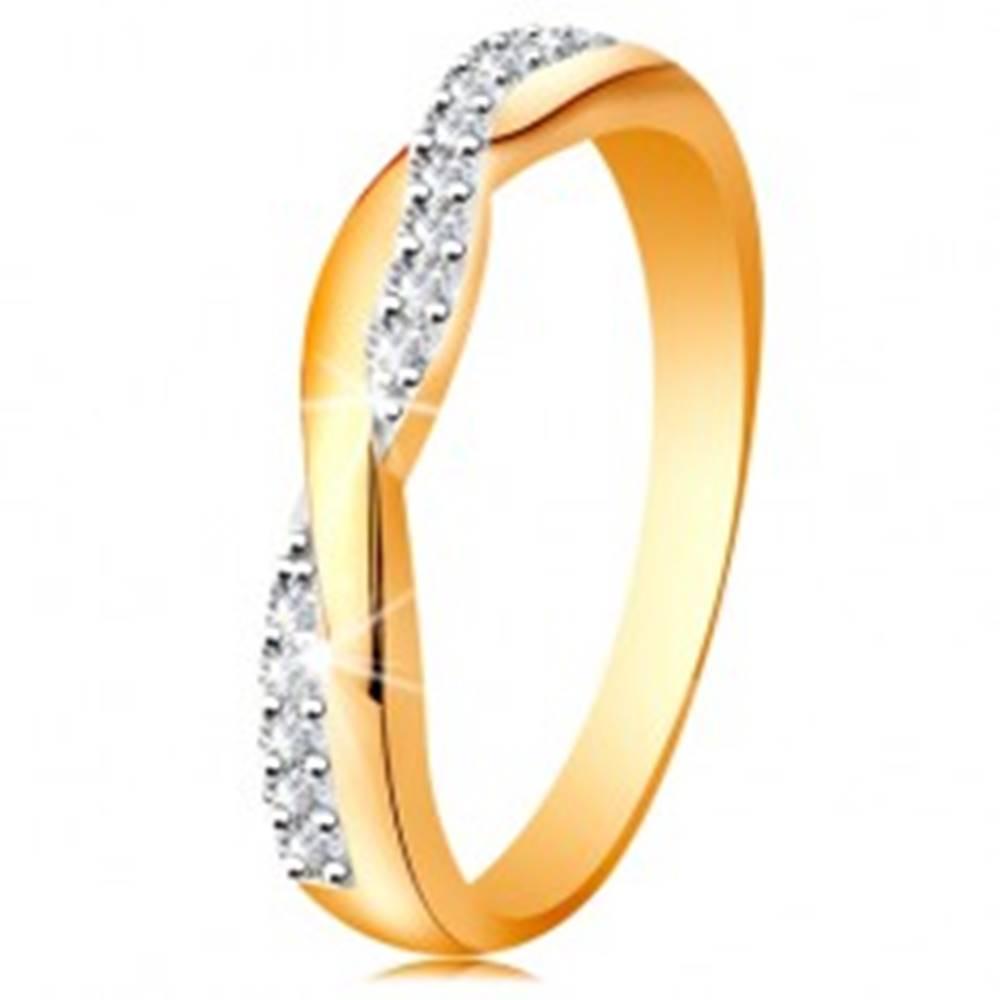 Šperky eshop Lesklý prsteň zo 14K zlata - dve prepletené vlnky - hladká a zirkónová - Veľkosť: 49 mm