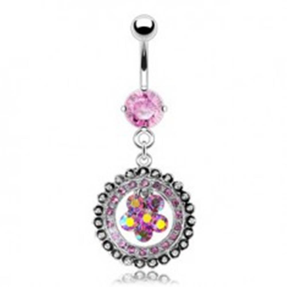 Šperky eshop Luxusný piercing do pupku vykladaný kvet