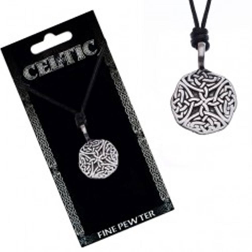 Šperky eshop Náhrdelník so šnúrkou – čierny, okrúhly prívesok, keltské uzly