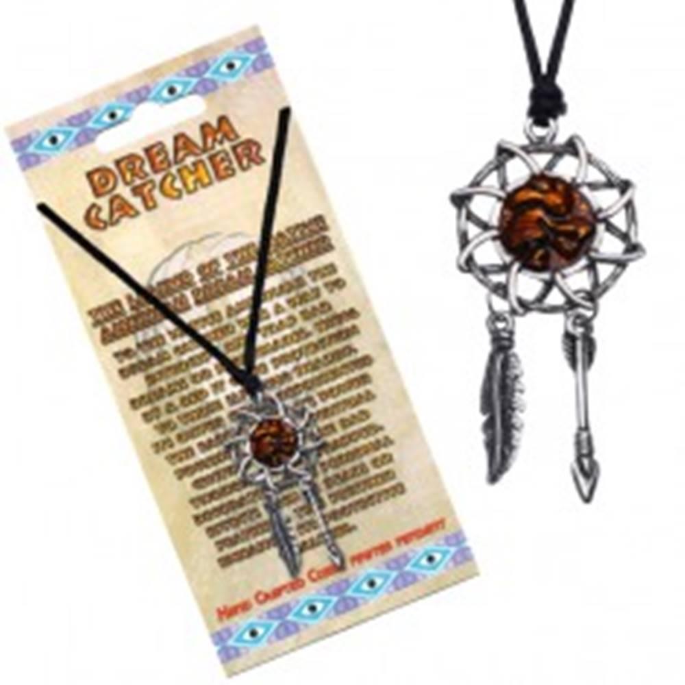 Šperky eshop Náhrdelník so šnúrkou - lapač snov s tancujúcim indiánom