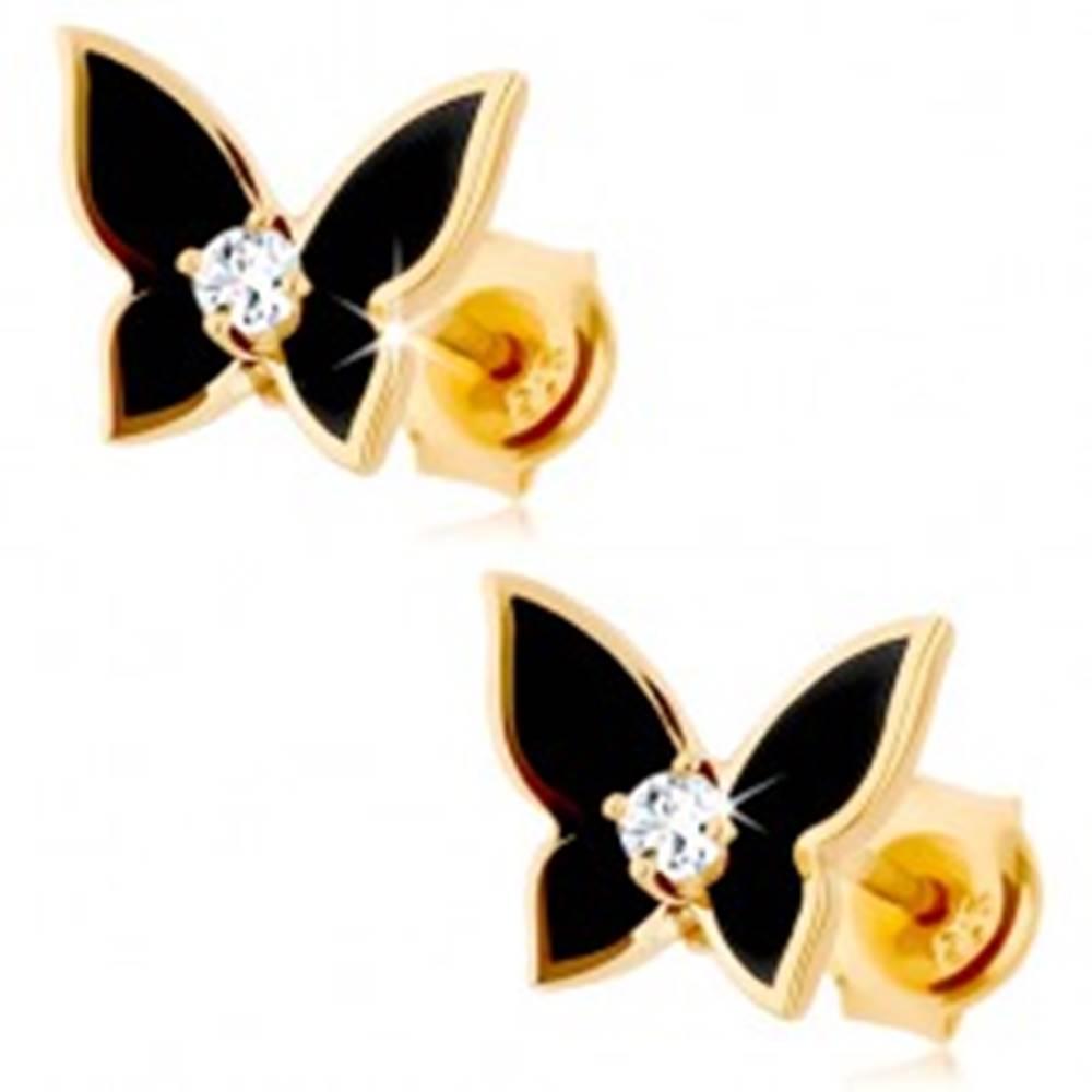 Šperky eshop Náušnice v žltom 9K zlate - malý motýlik pokrytý čiernou glazúrou, číry zirkón