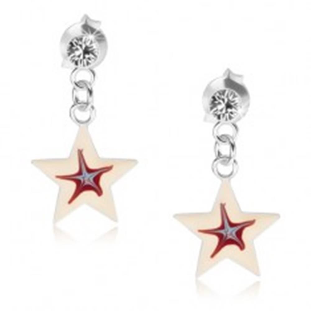 Šperky eshop Náušnice zo striebra 925, biela hviezdička s červeno-modrým stredom