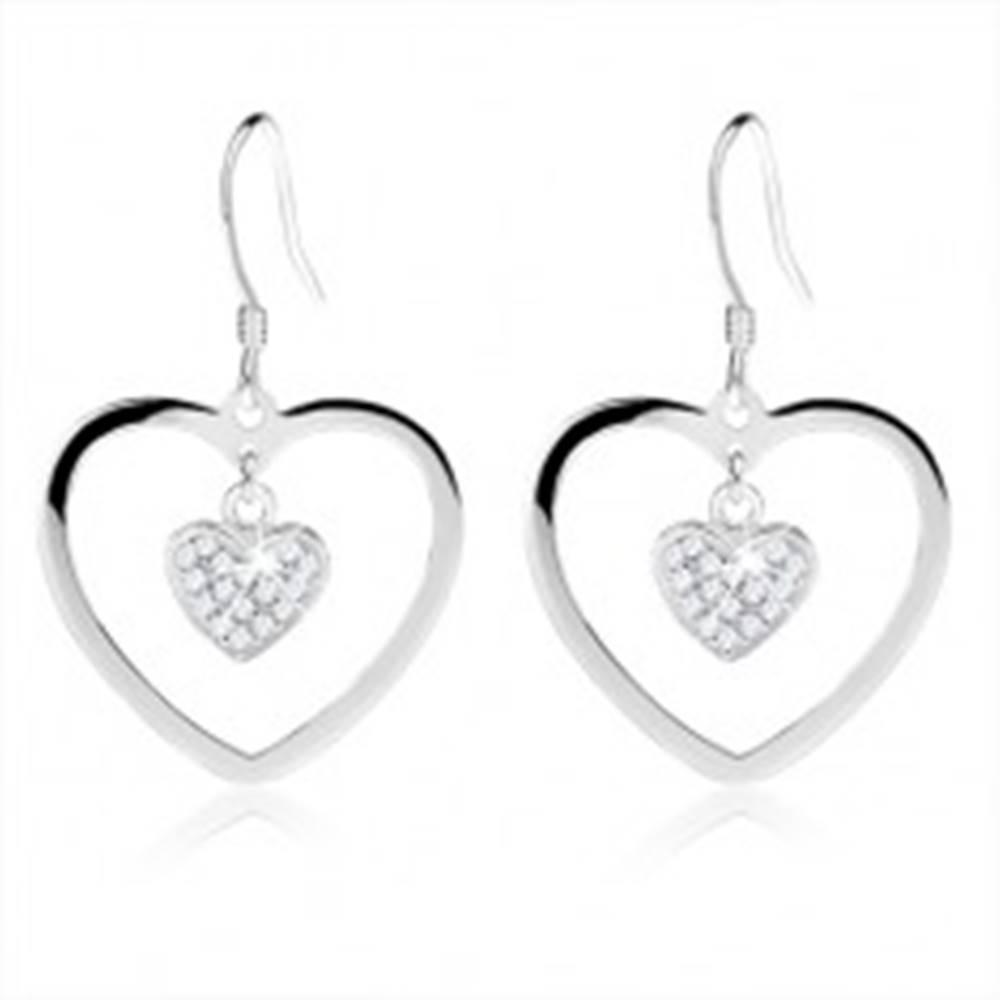 Šperky eshop Náušnice zo striebra 925, obrys srdca s menším zirkónovým srdiečkom