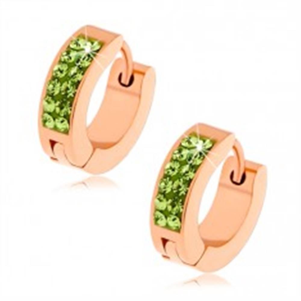 Šperky eshop Oceľové náušnice, dve zvislé línie zelených zirkónikov, povrch medenej farby