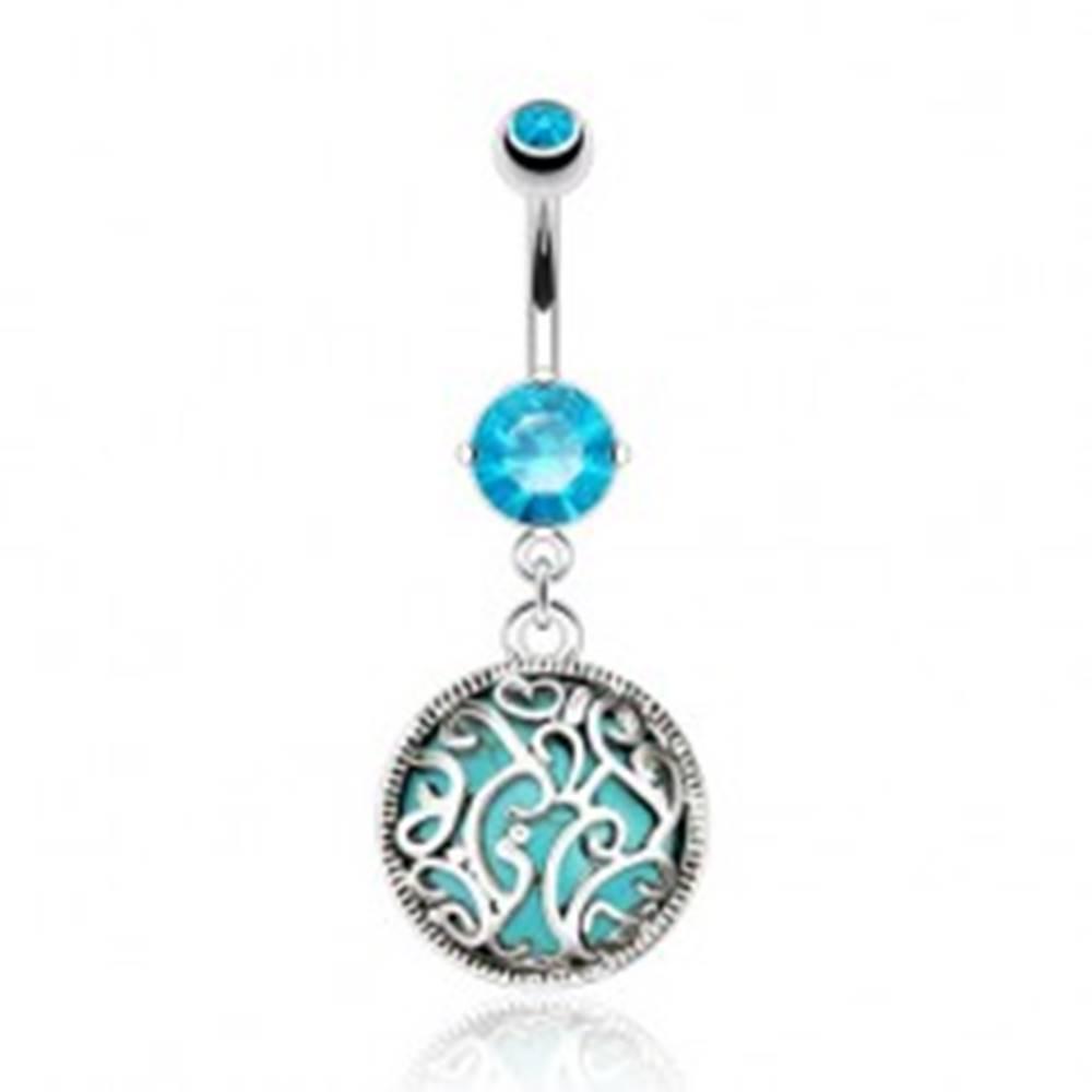 Šperky eshop Oceľový piercing do pupka, tyrkysový kamienok zdobený filigránom, zirkóny