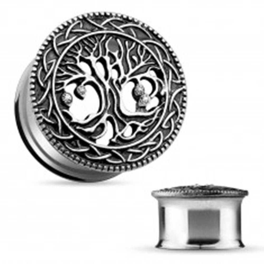 Šperky eshop Oceľový tunel do ucha, vyrezávaný košatý strom, čierna patina, číre zirkóny - Hrúbka: 10 mm