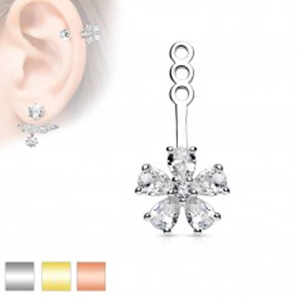 Šperky eshop Ozdoba na puzetovú náušnicu alebo piercing, číry zirkónový kvietok - Farba: Medená